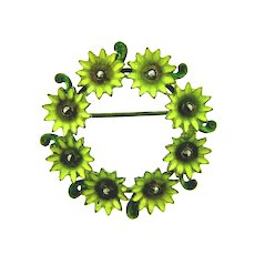 Marked sterling silver circular flower Brooch with enamel and marcasites