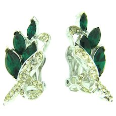 Signed Pell clip back Earrings with crystal and emerald green rhinestones