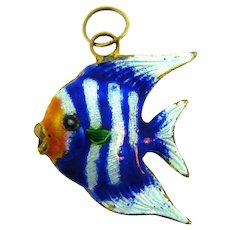 Vintage colorful enamel figural tropical fish Pendant