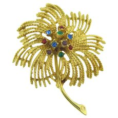 Signed Sarah Coventry flower Brooch with rhinestones