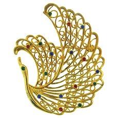 Vintage large gold tone figural swan Brooch with rhinestones