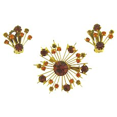 Vintage Brooch and clip back Earrings with light and dark topaz and citrine rhinestones