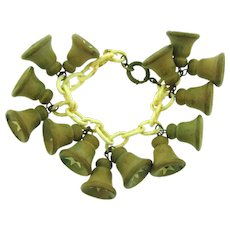 Vintage celluloid link Bracelet with wooden bell shaped charms