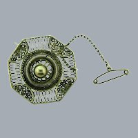 Vintage Byzantine style early silver tone Brooch with safety chain