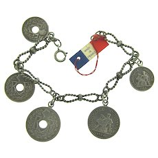 Vintage French coin silver tone charm Bracelet with original tag