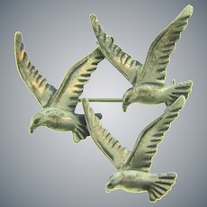 Signed Beau sterling silver figural trio of seagulls Brooch