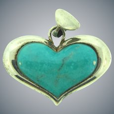 Stamped 925 Thailand sterling silver Pendant with heart shaped turquoise stone