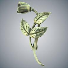 Signed SCF sterling Denmark single flower Brooch with leaves