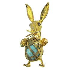 Vintage figural rabbit Brooch with mottled blue cabochon, imitation pearls and red rhinestones