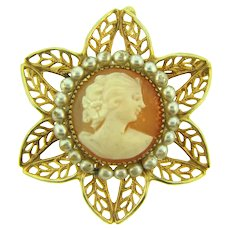 Vintage shell Cameo Brooch in a leafy frame with imitation pearls