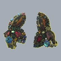 Signed Weiss clip back Earrings with multicolored rhinestones