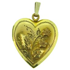Signed W. & H. 1/20 12 KT gold filled heart shaped Locket