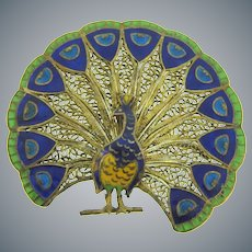 Marked made in Portugal sterling silver Peacock Brooch