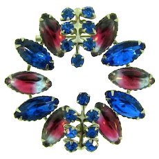 Vintage silver tone Brooch with blue and pink givre rhinestones