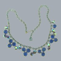 Vintage 1960's choker Necklace with blue rhinestones