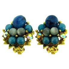 Signed ART vintage clip back Earrings