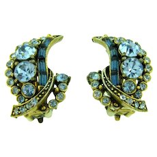 Signed Hollycraft COPR 1955 clip back Earrings with blue rhinestones