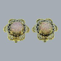 Vintage gold tone opalescent cabochon clip back Earrings