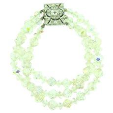 Vintage triple strand crystal bead Bracelet