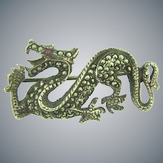 Vintage sterling silver figural dragon Brooch with marcasites and pink topaz