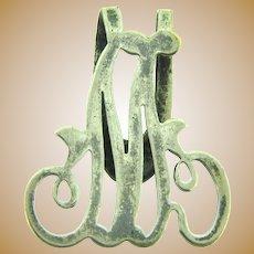 Signed Apollo Silver Co.  silver plate letter M Napkin Clip