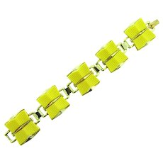 Signed Coro link Bracelet with yellow thermoset tiles