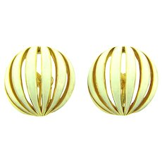 Signed Boucher large domed clip back Earrings with white enamel