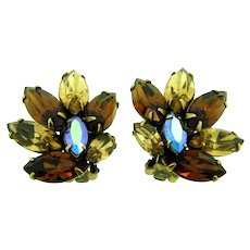Vintage 1960's clip back Earrings with topaz and AB rhinestones