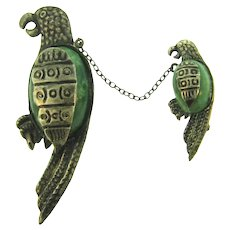Vintage sterling silver figural parrots chatelaine with serpentine stone