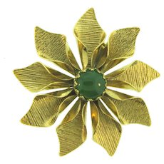 Vintage flower Brooch with green glass cabochon