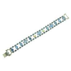 Vintage 1960's rhinestone Bracelet in blue tones