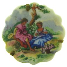 Signed Limoges France porcelain plate Brooch of courting couple