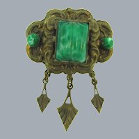 Vintage gold tone Brooch with green thermoset beads and cabochon and dangles