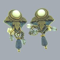 Vintage clip back Earrings with MOP and dangles