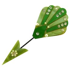 Vintage Book Piece  2 part green celluloid jabot/ hat pin with imitation pearls and rhinestones