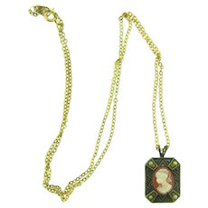 Vintage chain Necklace with small resin cameo pendant