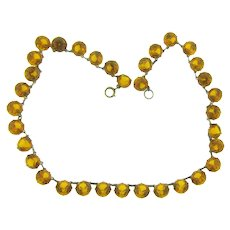 ON HOLD for GINO Vintage single strand of amber colored paste stone choker Necklace