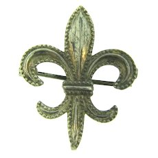 Marked Sterling silver figural fleur de lis Watch Pin