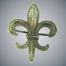 Marked Sterling silver figural fleur de lis Watch Pin