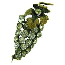 Vintage early figural grape Brooch with crystal rhinestones