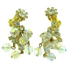 Vintage Juliana (D&E) crystal rhinestones and beads dangling clip back Earrings