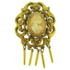 Signed Florenza gold tone cameo Brooch with dangles