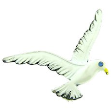 Signed Gerry's enamel figural seagull Brooch