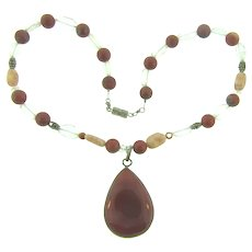 Vintage choker Necklace with red jasper, quartz and rock crystal beads and pendant