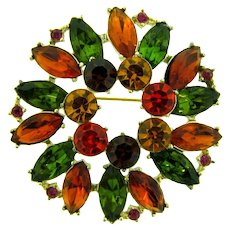 Signed Emmons large rhinestone Brooch in fall colors