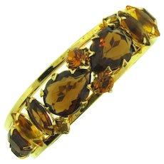 Vintage  clamper Bracelet with topaz,citrine and orange rhinestones