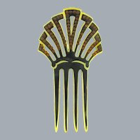 Vintage celluloid Hair Comb with amber rhinestones