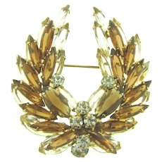 Vintage Juliana (D&E) layered winged Brooch with topaz and crystal rhinestones