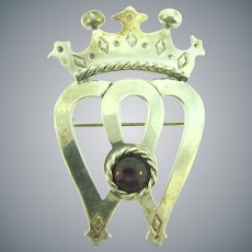 Marked Mexico SU 925 sterling silver large figural crown Brooch with garnet stone
