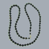 Vintage long strand of faceted black glass bead Necklace